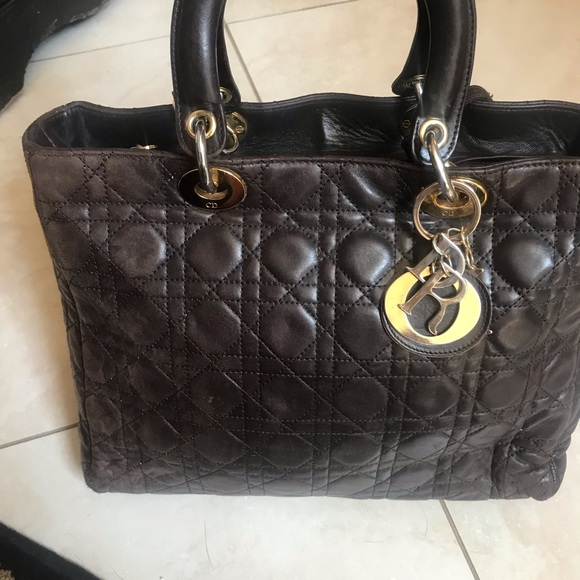 Dior Handbags - Lady Dior Brown lambskin bag
